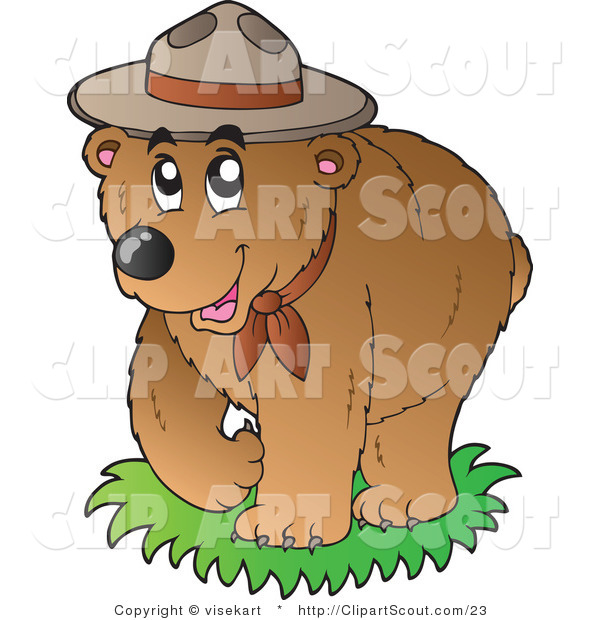 Vector Clipart of a Bear Scout Wearing a Hat