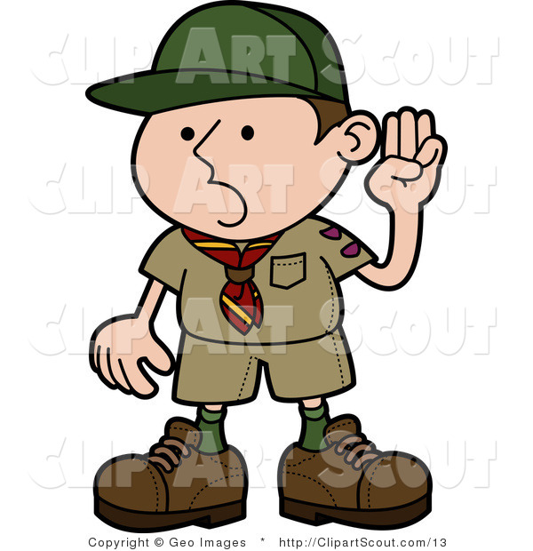 Vector Clipart of a Boy Scout Pledging the Oath