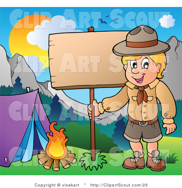 Vector Clipart of a Boy Scout Posting a Camping Sign