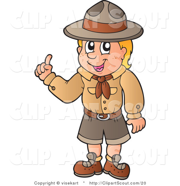 Vector Clipart of a Boy Scout with an Idea