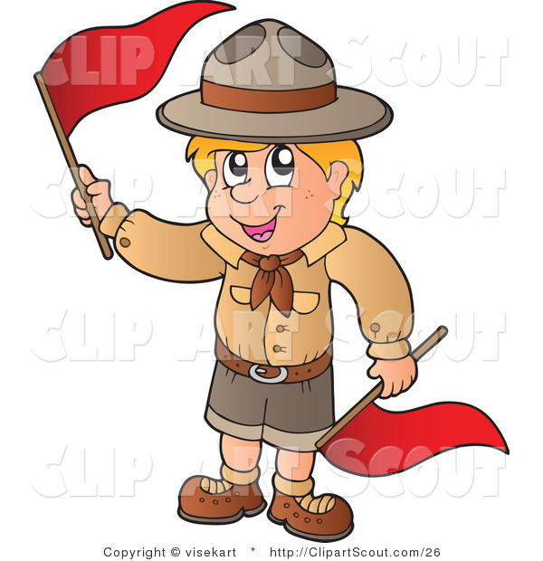 Vector Clipart of a Boy Scout with Red Flags