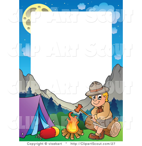 Vector Clipart of a Camping Boy Scout Roasting a Hot Dog Frame