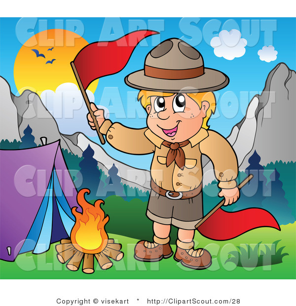 Vector Clipart of a Camping Boy Scout Waving a Flag over a Fire