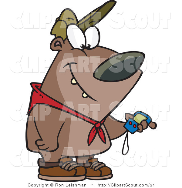 Vector Clipart of a Cartoon Hiking Bear Looking at a GPS Tool