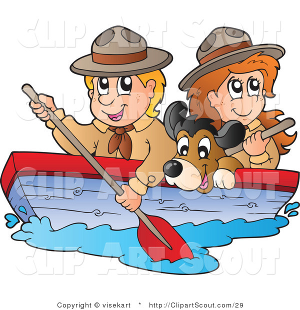 Vector Clipart of a Dog Boy and Girl Scouts Boating