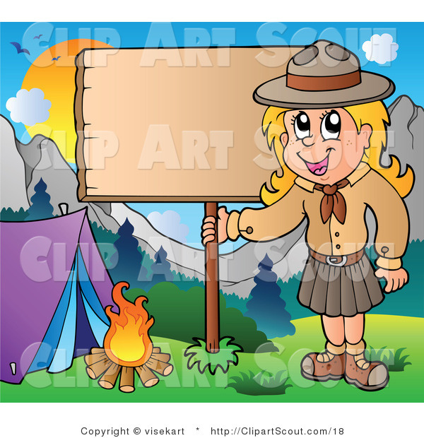 Vector Clipart of a Girl Scout with a Wood Sign at a Campground
