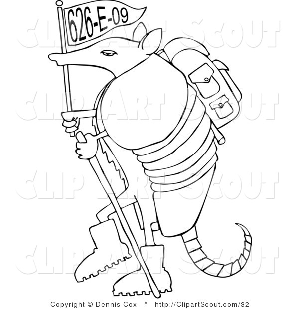 Vector Clipart of a Hiking Armadillo with a Flag
