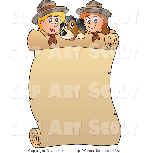 Vector Clipart of a Rolled Banner Dog and Scouts
