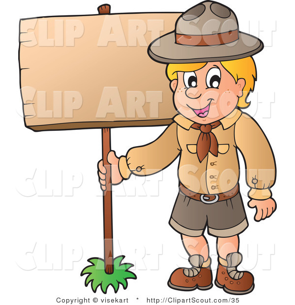 Vector Clipart of a Scout Boy Standing with a Wood Sign
