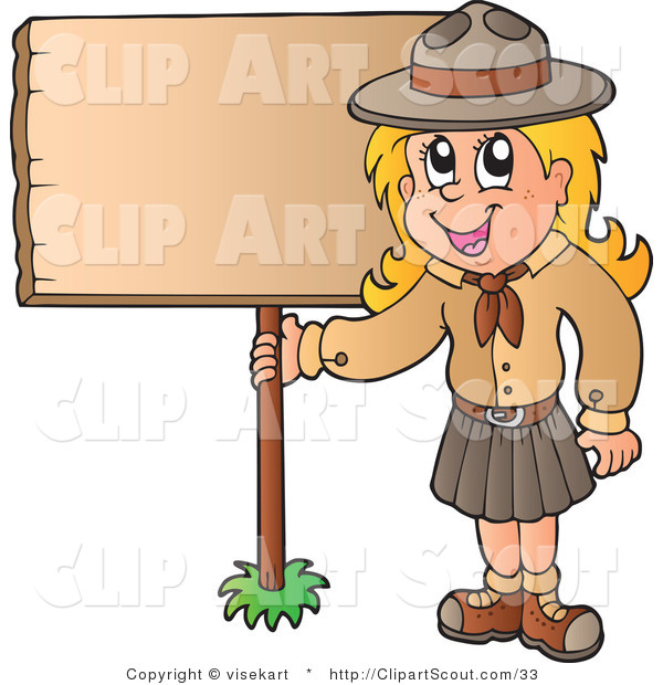 Vector Clipart of a Scout Girl Holding up a Blank Sign