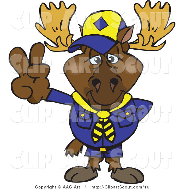 Vector Clipart of a Scout Moose Gesturing Peace