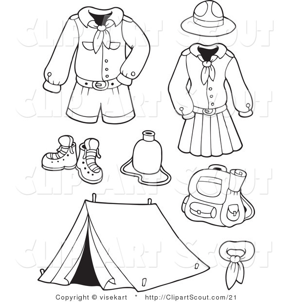 Vector Clipart of an Outlined Scout Clothing and Accessories