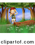 Clipart of a Blond Excited Scout Explorer Girl with Binoculars in the Woods by Graphics RF