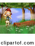 Clipart of a Blond Explorer Girl with Binoculars in the Woods by Graphics RF