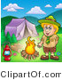 Clipart of a Boy Scout Keeping Warm by a Campfire by Visekart