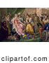Clipart of a Christopher Columbus Kneeling in Front of Queen Isabella I and King Ferdinand V - Artwork by JVPD