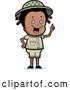 Clipart of a Cute and Smart Black Safari Girl Holding up Her Finger and Expressing an Idea by Cory Thoman