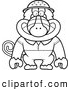 Clipart of a Cute Black and White Baboon Monkey Explorer by Cory Thoman
