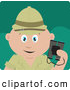 Clipart of a Cute Caucasian Explorer Holding Binoculars on a Safari by Dennis Holmes Designs
