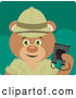 Clipart of a Cute Explorer Teddy Bear Character Holding Binoculars by Dennis Holmes Designs