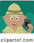 Clipart of a Cute Hispanic Explorer Holding Binoculars on a Safari by Dennis Holmes Designs
