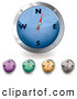 Clipart of a Digital Set of Blue, Purple, Green, Orange and Gray Compasses by Michaeltravers
