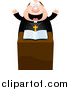 Clipart of a Enthusiastic Chubby Priest at the Pulpit by Cory Thoman