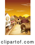 Clipart of a Explorer Girl Sitting in a Ghost Town Covered Wagon at Sunset by Graphics RF