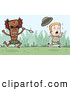 Clipart of a Fearful Explorer Kid Running from a Tribal Man with a Spear by Cory Thoman