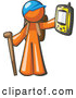 Clipart of a Geocaching Orange Man Hiker Holding out a Gps Device on White by Leo Blanchette