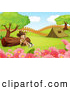 Clipart of a Happy Explorer Boy by a Log and a Camping Tent by Graphics RF