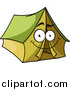 Clipart of a Happy Green Tent Character by Vector Tradition SM