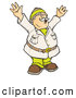 Clipart of a Happy Male Explorer Holding up His Arms While Coming upon an Amazing Scientific Discovery by Snowy