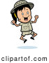 Clipart of a Happy Safari Girl Jumping up and down by Cory Thoman