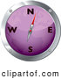 Clipart of a Purple and Chrome Map Compass over White by Michaeltravers