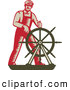 Clipart of a Retro Captain Steering at a Ship's Helm by Patrimonio