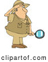 Clipart of a Safari Explorer Man Holding a Magnifying Glass by Djart
