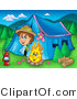 Clipart of a Scout Boy Peeking out of a Tent at a Campfire by Visekart