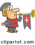 Clipart of a Short Herald Blowing a Horn Cartoon by Toonaday
