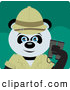 Clipart of a Smiling Giant Panda Bear Character Exlplorer by Dennis Holmes Designs