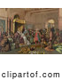 Clipart of a Vintage Painting of Christopher Columbus with Natives from the New World, Standing Proudly Before the King and Queen of Spain, King Ferdinand and Queen Isabella, at the Court of Barcelona, Spain in February of 1493 by JVPD