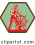 Clipart of an Old Fashioned Captain Steering a Helm on a Green Sign by Patrimonio
