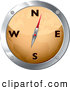 Clipart of an Orange and Chrome Map Compass on White by Michaeltravers