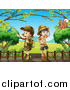 Clipart of Explorer Scout Girls and Critters on a Boardwalk by Graphics RF