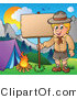 Vector Clipart of a Boy Scout Posting a Camping Sign by Visekart