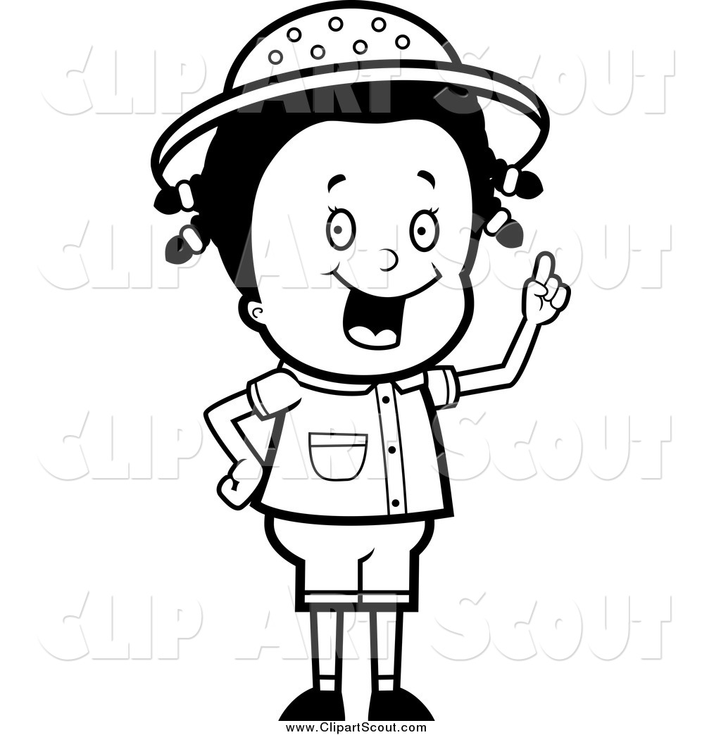 clipart of a black and white safari girl holding up her finger and rh clipartscout com