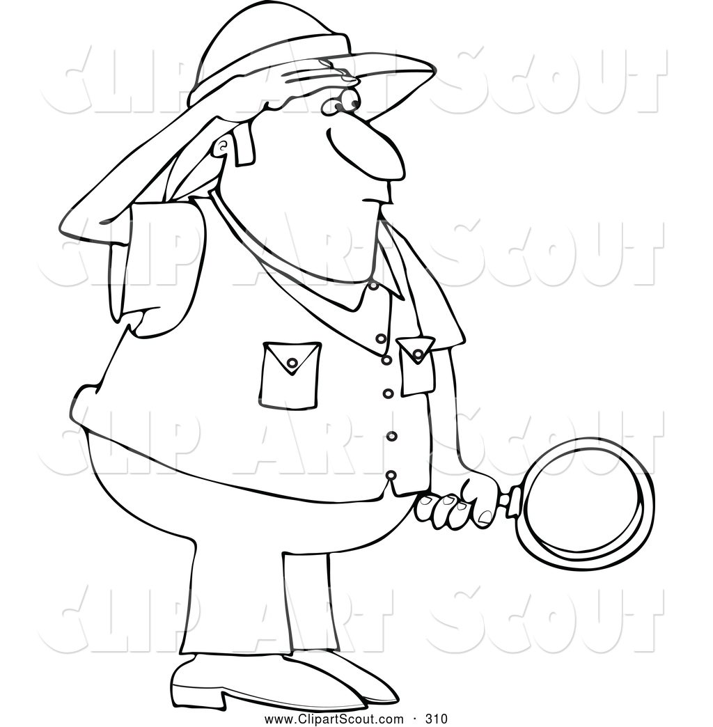 Clipart Of A Black And White Safari Man Holding Magnifying Glass