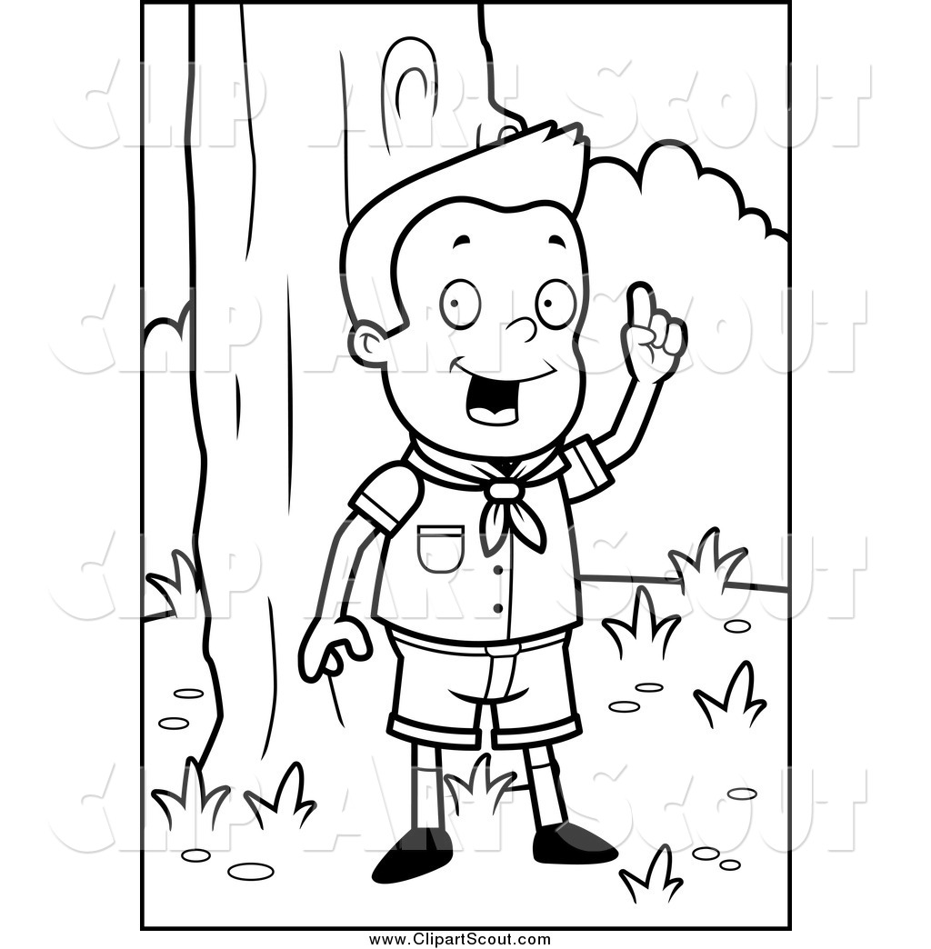 Clipart Of A Black And White Smart Cub Scout Boy In The Woods By