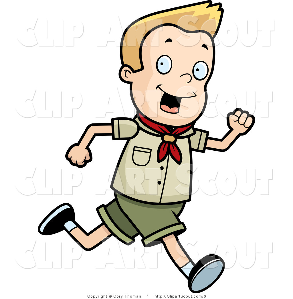 clipart of a blond scout boy running by cory thoman 6 rh clipartscout com