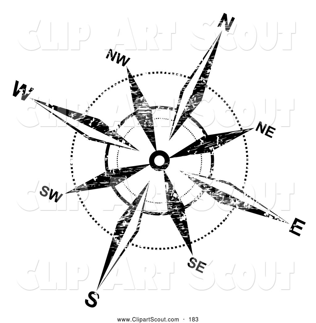 Clipart Of A Grungy Black And White Compass Rose On